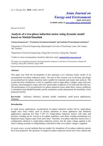 Analysis of a two-phase induction motor using dynamic model ...