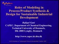 Roles of Modeling in Process/Product Synthesis & Design ... - CAPEC