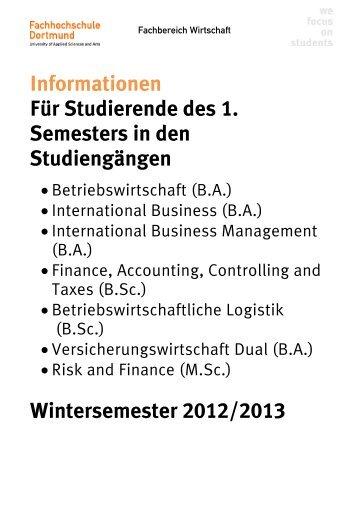Informationsbroschüre für Erstsemester - Fachhochschule Dortmund