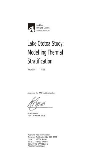 Modelling Thermal Stratification - Auckland Council