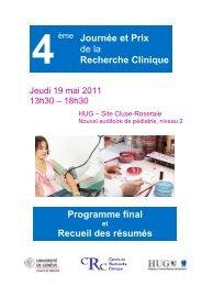 Programme final et Recueil des résumés - Centre de recherche ...
