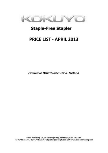 Kokuyo Price List April 2013.xlsx - Stone Marketing