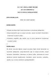 Prof. Dr. Vedat IŞIKHAN - Sosyal Hizmetler - Hacettepe Üniversitesi