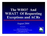 And WHAT? Of Requesting Exceptions and ACRs - Texas ...