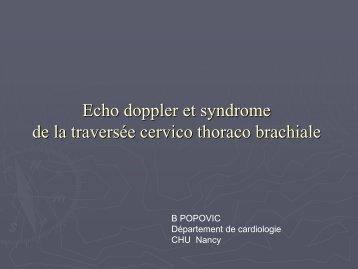 Echo Doppler et syndrome de la traversée cervico-thoraco-brachiale