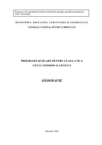 Programa Geografie