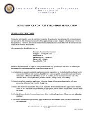 Home Service Contract Provider - Louisiana Department of Insurance