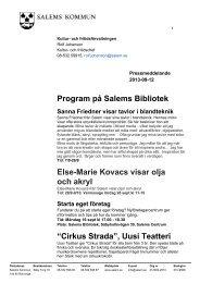 Program på Salems Bibliotek ElseMarie Kovacs ... - Salems kommun