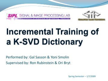 Incremental Training of a K-SVD Dictionary - SIPL