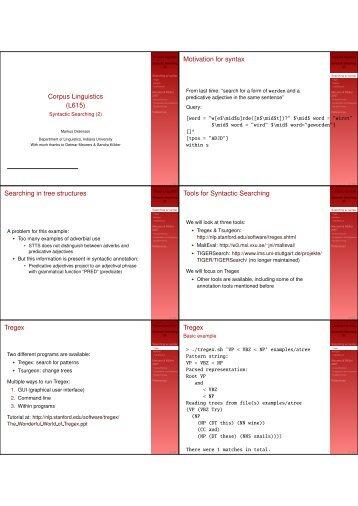 Corpus Linguistics - IU Computational Linguistics Program - Indiana ...
