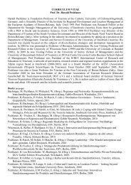 CURRICULUM VITAE Prof. Dr. Harald Pechlaner Harald Pechlaner ...