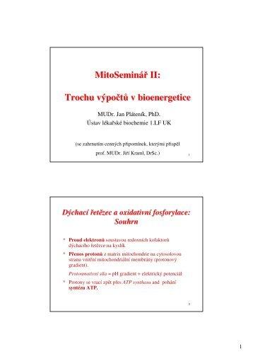 Výpočty v bioenergetice - Ústav lékařské chemie a biochemie