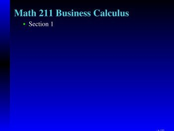 Math 211 Business Calculus - Department of Mathematical Sciences ...