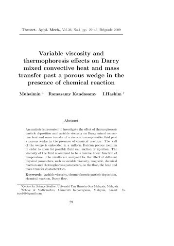 Variable viscosity and thermophoresis effects on Darcy ... - doiSerbia