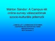 Márton Sándor: A Campus-lét online-survey válaszadóinak szocio ...