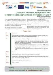 Programme du 20 novembre 2012 - Réseau Rural Français