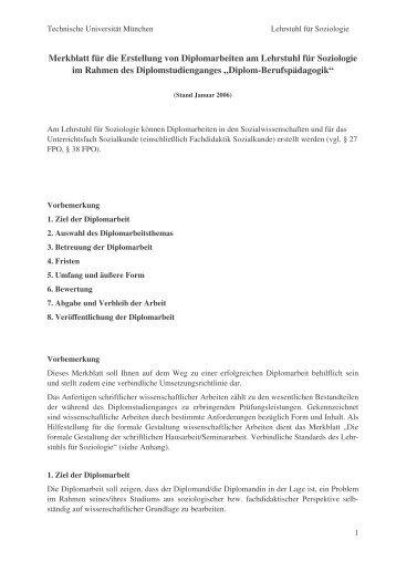 Leitfaden Diplomarbeit - Fachgebiet Soziologie - Technische ...