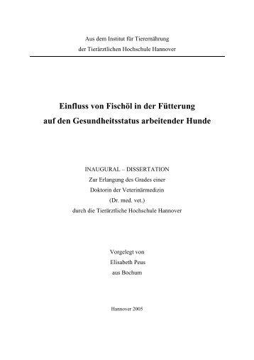 EPeus Dissertation2005 - TiHo Bibliothek elib - Tierärztliche ...