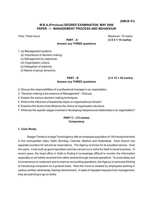 m b a  degree examination - ANUCDE