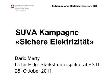 SUVA Kampagne «Sichere Elektrizität - DSV