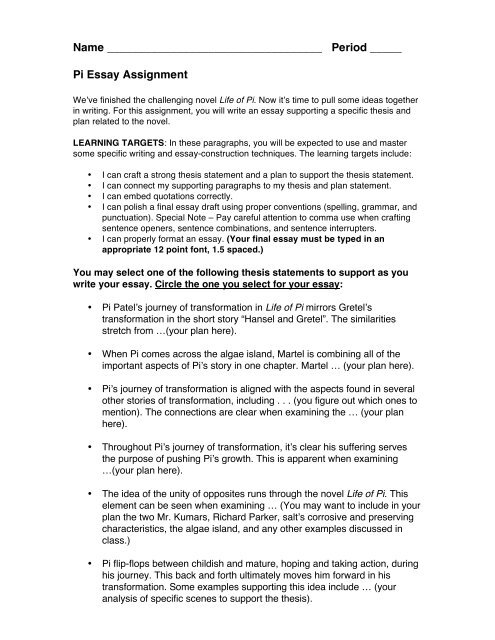 Topics For Essays In English  Science And Technology Essay Topics also Examples Thesis Statements Essays Pi Essay Assignment Final Draft   Wlwv Staff Blogs Narrative Essays Examples For High School