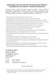 4. Späte Infektionen nach allogener Stammzelltransplantation