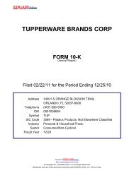 Tupperware 2010 Annual Report - Direct Selling News
