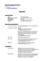 Lebenslauf - Österreichische Akademie der Wissenschaften