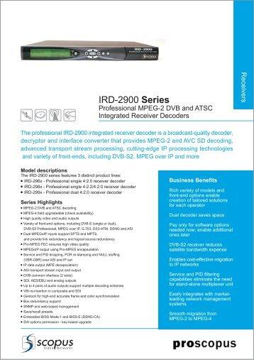 IRD-2900 Series - TBC Integration