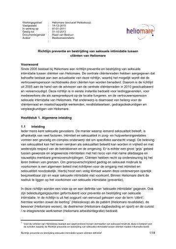 Richtlijn preventie en bestrijding van seksuele intimidatie - Heliomare