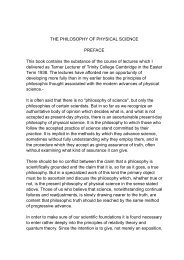The Philosophy of Physical Science - The Henry Foundation, Inc.