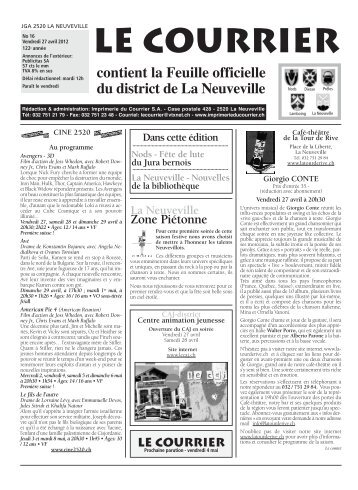No 16 - 27 avril - Imprimerie du Courrier, La Neuveville