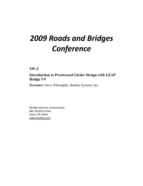 SW-2 Introduction to Prestressed Girder Design with LEAP Bridge ...