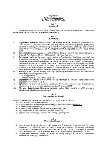 Regulamin Konkursu Disney Junior dla Abonentów UPC Polska Art. 1.