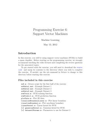 Programming Exercise 6: Support Vector Machines