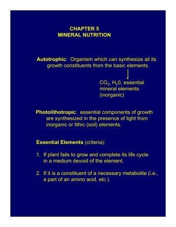 Mineral nutrtion