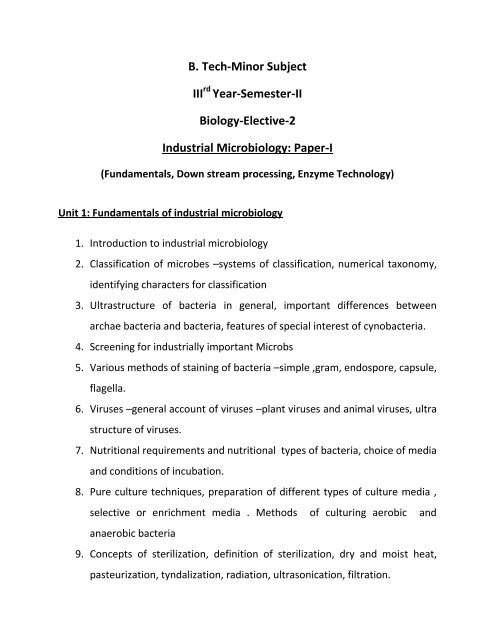 B  Tech-Minor Subject III Year-Semester-II Biology-Elective