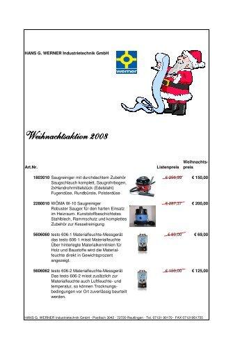 Weihnachtsaktion 2008 - Hans G. Werner Industrietechnik GmbH