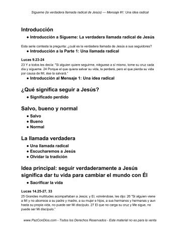 Introducción ¿Qué significa seguir a Jesús? Salvo ... - PazConDios