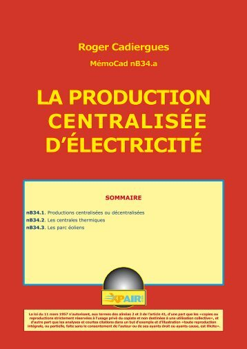 LA PRODUCTION CENTRALISÉE D'ÉLECTRICITÉ