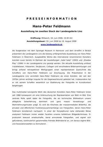 PRESSEINFORMATION Hans-Peter Feldmann