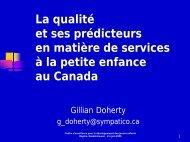 Colloque Juin 2005 - La qualité et ses prédicteurs en matière de ...