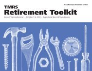 Retirement Toolkit - Texas Municipal Retirement System