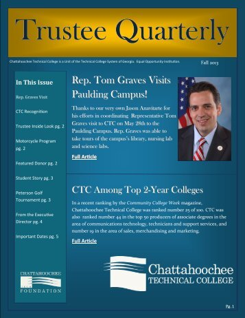 Trustee Newsletter Fall 2013 - Chattahoochee Technical College