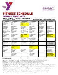 FITNESS SCHEDULE - Armbrust YMCA