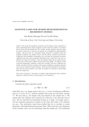 adaptive lasso for sparse high-dimensional regression models