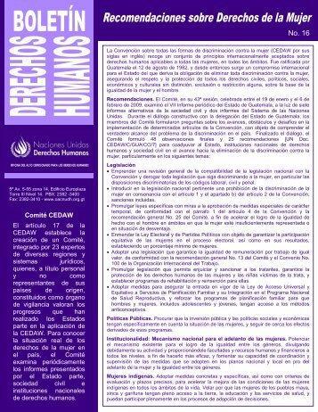 Boletín No.16 - Recomendaciones sobre derechos de la mujer
