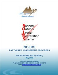 NOLRS Partnered Training/Assessment Providers - Outdoors WA
