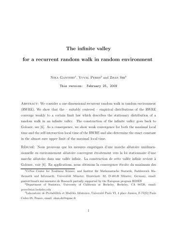 The infinite valley for a recurrent random walk in random environment