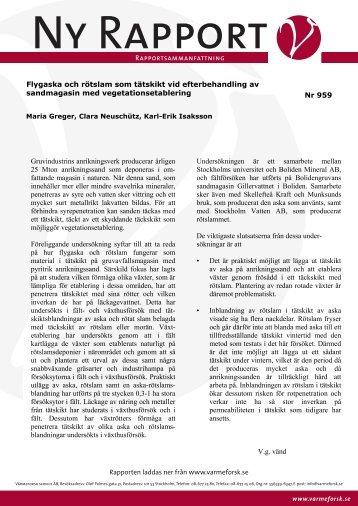 Sammanfattning - Svenska EnergiAskor AB